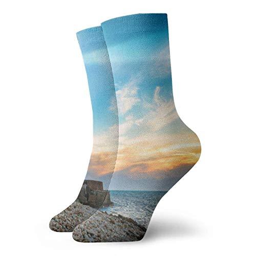 Sunset Lighthouse Ocean Sea Halloween Acción de Gracias Regalo de Navidad Adulto Calcetines Cortos Calcetines Deportivos de Algodón para Hombres Mujeres Yoga Senderismo Ciclismo Correr Fútbol Deportes