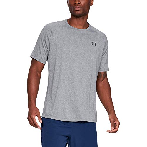 Under Armour Tech 2.0. Camiseta masculina, camiseta transpirable, ancha camiseta para gimnasio de manga corta y secado rápido, Steel Light Heather/Black (036), MD