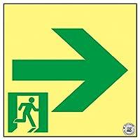 緑十字 高輝度蓄光避難誘導ステッカー標識 非常口→ 150×150 A級認定品 377952