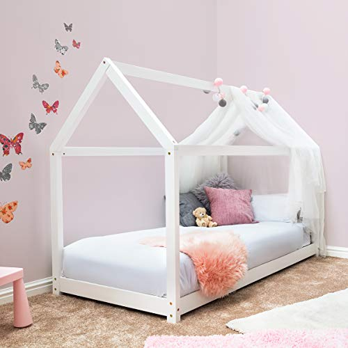 Sleep Design Childrens Treehouse Style Wooden Kids Bed Frame White or Pine Finish Single Size (White)