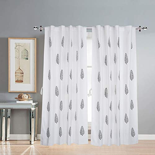 LINENWALAS Cotton Curtains for Doors 8 Feet Set of 2, Linen Textured Long Doors Curtains for Home Decor, Hangs Elegantly with Back Loops (4.5ft x 8ft, Black Leaf)