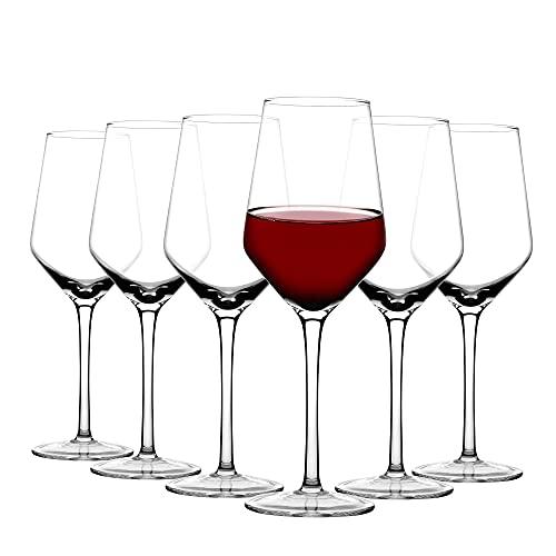 Amisglass Bicchiere da Vino Rosso,300ml Set 6 Pezzi Bicchieri Calice Vino in Vetro Chiaro di Cristallo 100% Senza Piombio, Utilizzato per Vino Bianco e Vino Rosso