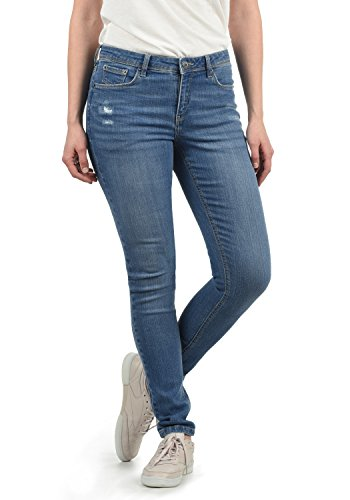 BlendShe Adriana Damen Jeans Denim Hose Röhrenjeans Aus Stretch-Material Mit Destroyed-Look Skinny Fit, Größe:XL, Farbe:Light Blue Denim (29030)