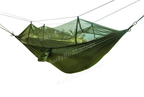 Earlybird Savings, amaca/letto sospeso, da campeggio e da viaggio, portatile, ad alta resistenza, in tela di nylon per paracadute, Army Green