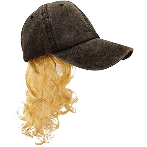 Usmato Kit de Sombrero con Peluca Dorada y Pendientes de Barba, Sombrero con Peluca Rubia, Conjunto de Disfraz de Barba, Accesorios de Cosplay