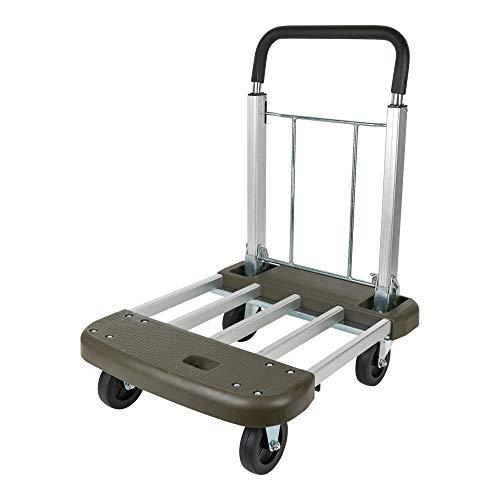 STIER Plattformwagen, Verstellbar, Tragkraft 150 kg, Transportwagen klappbar, Aluminium, mit ausziehbarem Griff, Transporthilfe mit Lenkrollen, variable Plattform, Schiebewagen