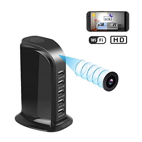 Spy Camera WiFi Hidden Camera USB Caricatore fotocamera 5 porte Plug 1080 Mini Spy Cam Wireless telecamere di sicurezza domestica, caricatore della stazione Camera Night Vision, Full HD Nanny Cam