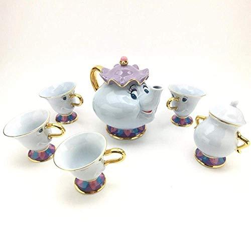 La Bella y la Bestia Copa Tetera Taza de la señora Potts viruta Tea Pot Set Sugar Bowl Pot Regalo 18K Chapado en Oro de cerámica Pintada LMMS