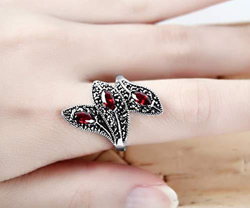 XIRENZHANG Anillo de plata de ley 925, a lo largo de la forma de hoja, granate, rubí, anillo de moda, anillo de dedo, anillo de dedo, regalo femenino (13# – 20#) red-18#