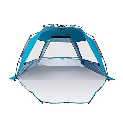 L-sister Tienda de campaña portátil para exteriores, ideal para 3 – 4 personas, transpirable, impermeable, resistente al viento, toldo antiultravioleta, duradero (color azul)