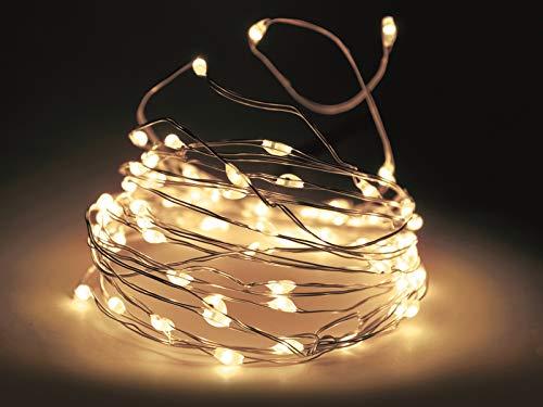 Guirlande lumineuse à 20 LED blanc chaud à piles avec minuterie