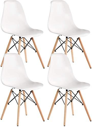 Ensemble de 4 chaises de salle à manger scandinaves Chaise de salon de mode pieds en bois de hêtre massif Chaise confortable adaptée à la chambre et au salon café chaises salle manger (Blanc)