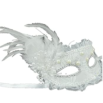 Sweenaly lace mask Masquerade Mask Party Mask Halloween Mask  White