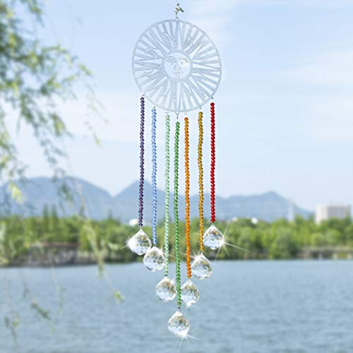 H&D Kristallkugel Prismen Sonnenform Chakra-Sonnenfänger zum Aufhängen Regenbogenmacher
