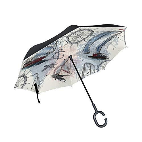Double Layer Inverted Umbrella Winddichte Regensonnen-Regenschirme mit C-förmigem Griff - Navigation