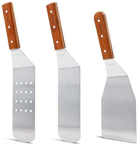 Raschietto in acciaio INOX grill spatola da cucina e da cucina con manici in legno–per Teppanyaki grill e Bistecchiere–pezzi