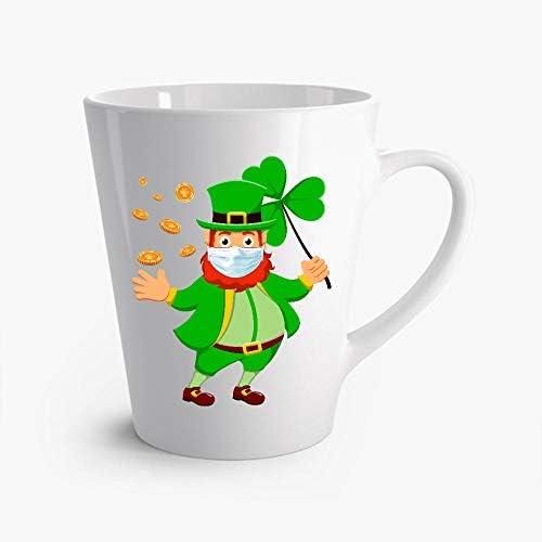RAVI St Patricks Day Leprechaun In A Mask 2021 Latte Mug 12oz product image