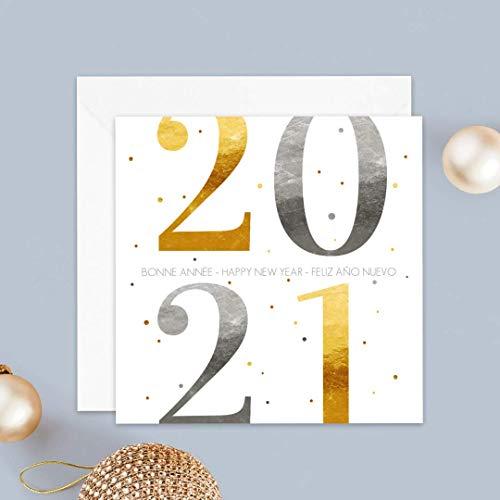 Carte de voeux 2021 • Année en Grand • Or & Argent • Lot de 16 Cartes • Papier haut de gamme • 16 Enveloppes Blanches Autocollantes • 14x14 cm Pliée • Idéal pour souhaiter la Bonne Année • Popcarte