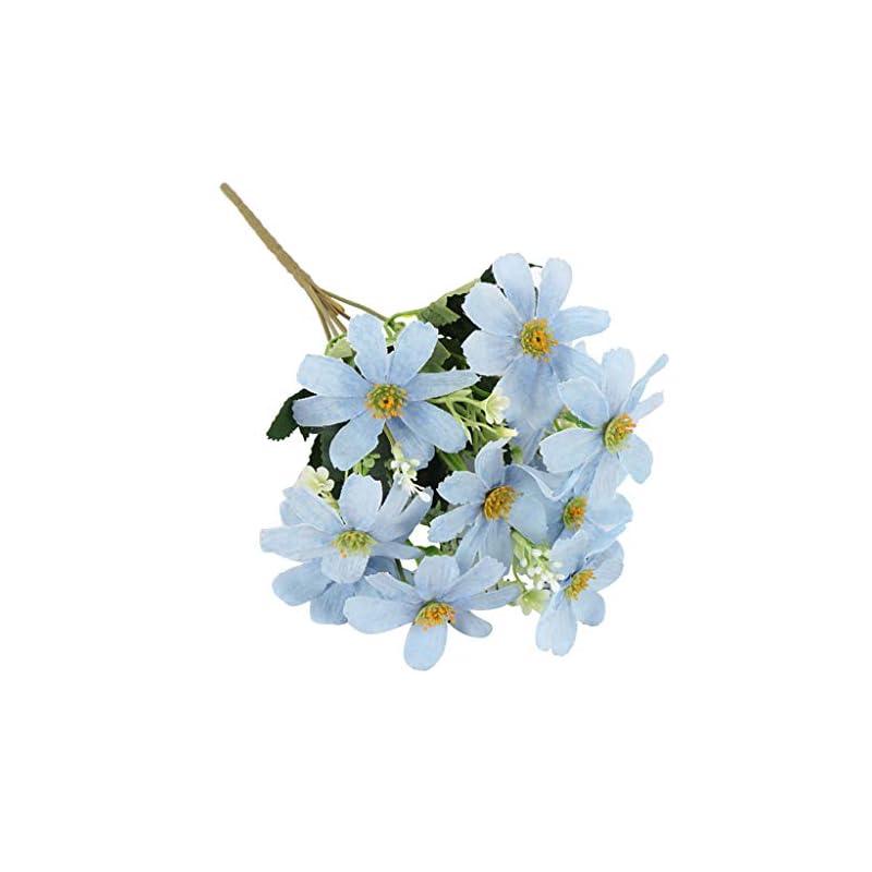 silk flower arrangements 5 branch 10 heads artificial silk fake cosmos flowers wedding floral decor bouquet, artificial daisy bouquet - blue