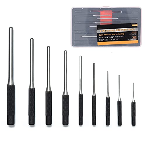 9 Pcs Durable Steel Roll Pin Punch Set,Professional Multi Size Round Head Pins Set Steel Grip Roll Pins Punch with Carry Box