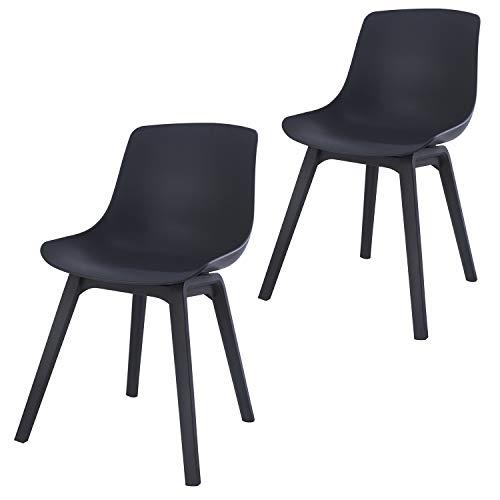 Damiware Juliet Silla de jardín / balcón de plástico (polipropileno) en color gris, juego de 2 sillas de jardín | modernas sillas de comedor para el jardín