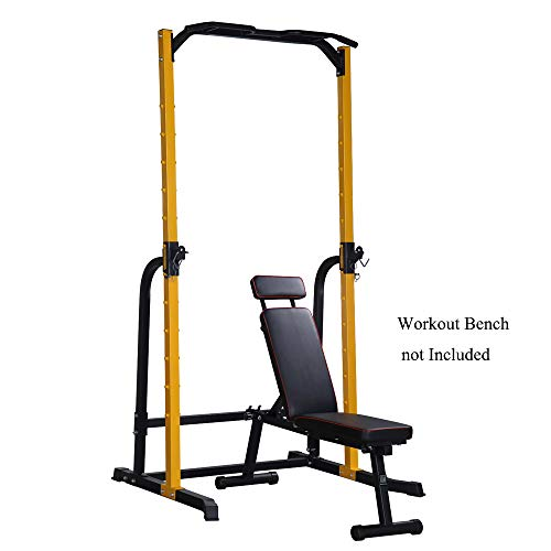 ZENOVA Power Rack Squat Stand with J-Hooks, Fitness Multi-Function Power Tower Dip Station Squat Rack, 800LBS Weight Capacity
