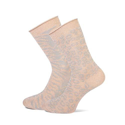 MarcMarcs Damen Socken Mila 2 Paar -Desgins (35/38, Beige)