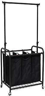 Oceanstar 3-Bag Rolling Laundry Sorter with Adjustable Hanging Bar, Bronze by Oceanstar