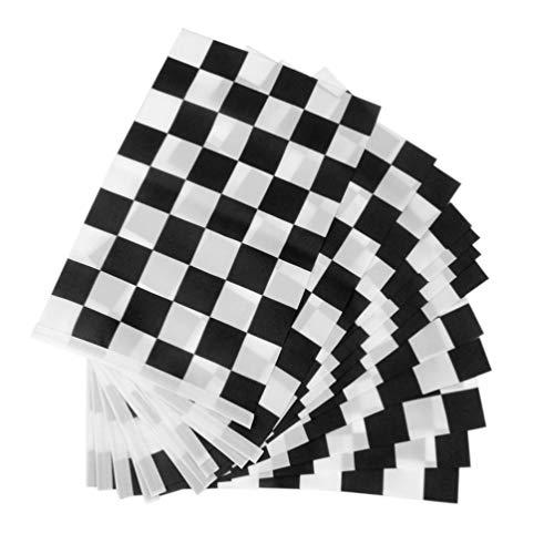 VORCOOL Racing Flag Noir Blanc Checkered Flag Hand Stick Flag Pack DE 12