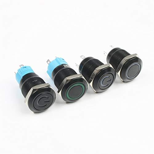 Botón pulsador para Impermeable Interruptor, 1 unids Interruptor de botón negro, 4 Pin 12mm Impermeable Iluminado LED Metal Luz Metal Plano Momento Interruptores con marca de alimentación 3V 6V 12V 24