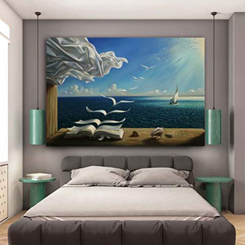 Smhlg Salvador Dali Leinwand Kunstdruck Poster The Waves Book Segelboot Bild Leinwand Gemälde Tagebuch Der Entdeckung Von Vladimir Kush Schlafzimmer 60x90cm