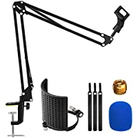 Moukey Adjustable Suspension Boom Scissor Mic Stand with U-Shaped Pop Filter