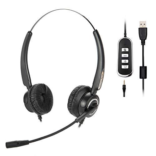 Jelly Comb Headset PC, 3.5 mm und USB Headset mit Noise-Cancelling-Mikrofon für HomeOffice, Kabelgebundene Kopfhörer für Smartphone, Skype, Zoom, Online Kurs, Home Office, PS4, Telefonkonferenz