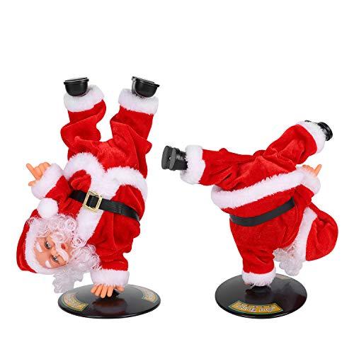 IBLUELOVER - Juguete musical de Papá Noel, juguete de Navidad eléctrico de peluche muñecas, Navidad, baile, cantar, Swinging Santa Druce, muñecas, danza, hip-hop, decoración navideña