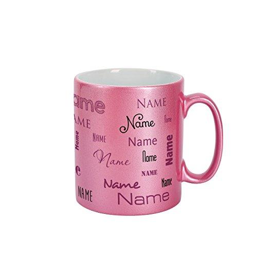 Herz & Heim® Namenstasse mit eigenem Namen in verschiedenen Schriftarten im Rosa Metallic Look