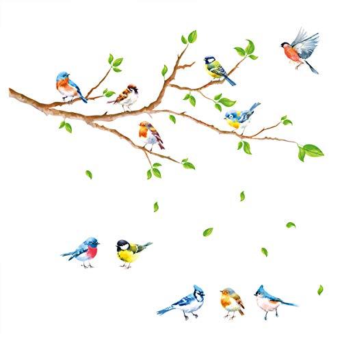 decalmile Wandtattoo Vögel Baum Zweige Wandsticker Grüne Blätter Wandaufkleber Kinderzimmer Wohnzimmer Küche Wanddeko