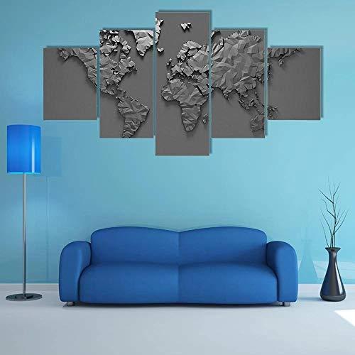 NNNLX Cuadro sobre Lienzo - Decoración 5 Piezas - Origami d Mapa del Mundo - Cuadros Decoracion - Impresiones sobre Lienzo -Listo para Colgar - En Un Marco