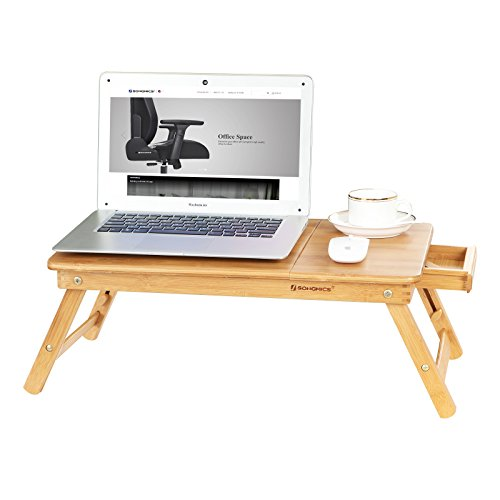 SONGMICS Laptop Desk for Bed Sofa with Adjustable Tilting Top, Breakfast Serving Tray with Folding Legs ,Multi Function Table, Floor Desk, 100% Bamboo Nature
