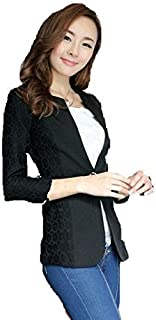 Lady Elegant Slim Lace Casual One Button Blazers Small Suits for Women Jackets Coat GG0279 Black Size S