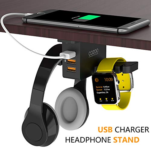 Headphone Stand with USB Charger COZOO Under Desk Headset Holder Mount...