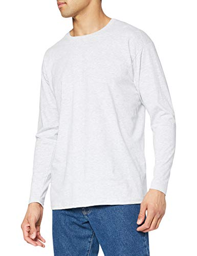 Fruit of the Loom Long Sleeve Valueweight tee Camisa, Gris, Large para Hombre