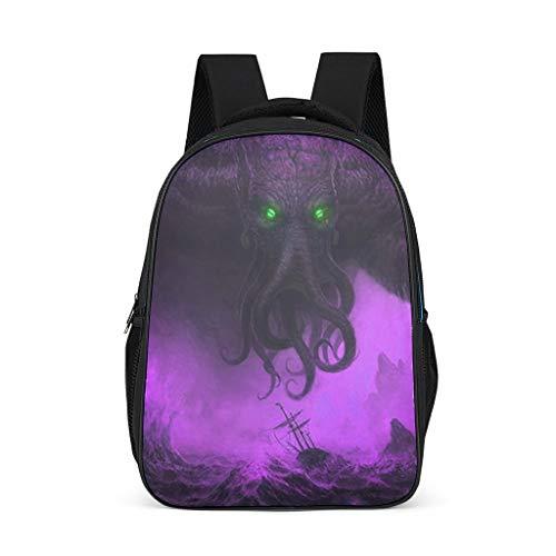 Fineiwillgo Cthulhu - Mochila con estampado, bolso de hombro resistente, para estudiantes y vacaciones, color gris brillante, talla nica