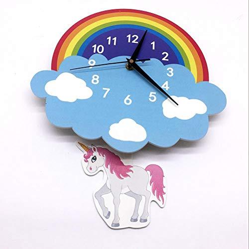 TOLYZ klok kinderhuis decoratie achtergrond muur Unicorn regenboog pendel klok cartoon decor