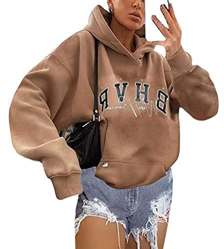 Shownicer Kapuzenpullover Für Damen Herbst Winter Hoodie Letter Print Sweatshirt Lose Casual Langarm Hip Hop Langarmshirt Pullover mit Kapuze Sport Outerwear Khaki S