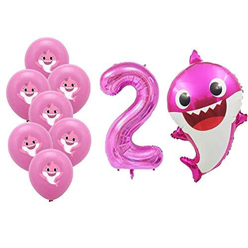 Buy Bargain Eosolar Set of 18 Pink 2nd Birthday Baby Shark Helium Balloons ,2 Cute 26 Inch Pink Baby...