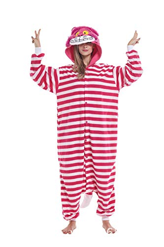 Cheshire Cat Adult Animal Onesie Costume Cosplay Unisex One Piece Pajamas for Women Men L