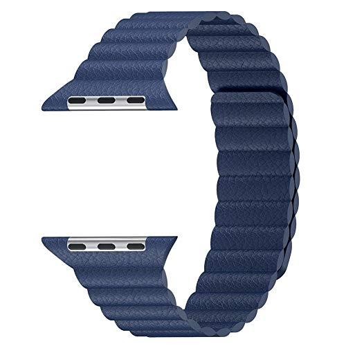 Globeagle Magnetische Lederschlaufe Armband Armband Handschlaufe Ersatz für Apple Watch iWatch Serie 1 2 3 42 mm (blau)