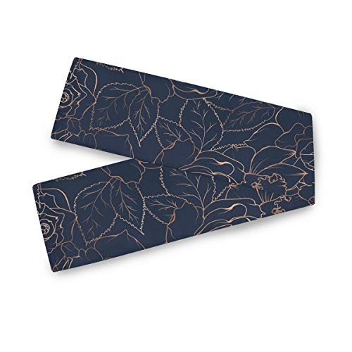 AGONA Navy Blue Gold Rose Peony Floral Table Runner 13 x 70 Inches Double Sided Long Table Linens Cloth Top Dresser Scarf for Dinner Dining Party Wedding Kitchen Home Decor