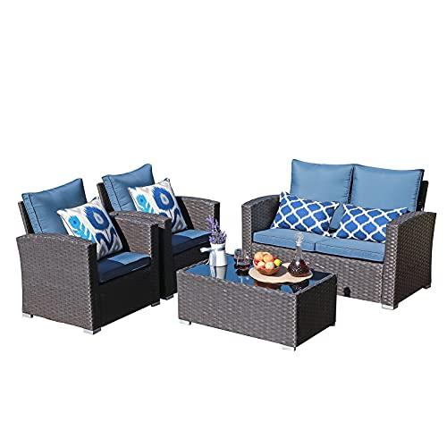 JOIVI Patio Furniture Set, 5 Piece PE Rattan Sectional Outdoor Conversation Sofa Set with Brown...