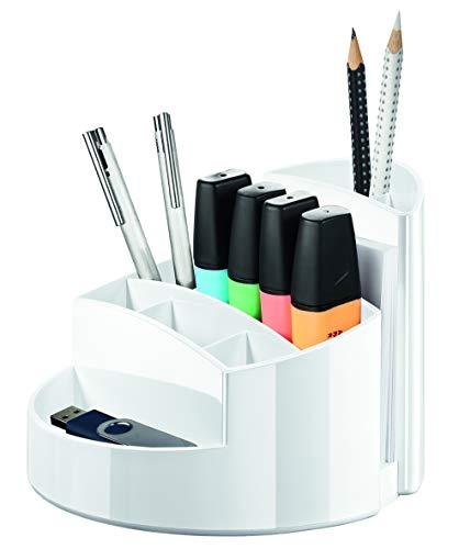 HAN Schreibtischköcher RONDO – eleganter Köcher mit 9 Fächern, stabil, hochglänzend und in Premium-Qualität, weiß, 17460-12